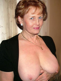 Sexy topless old woman
