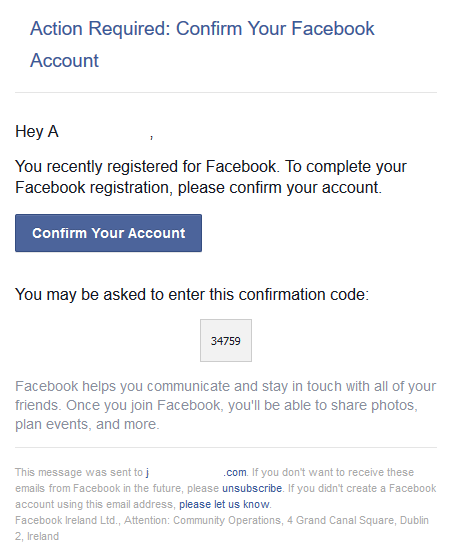 How to send email to facebook
